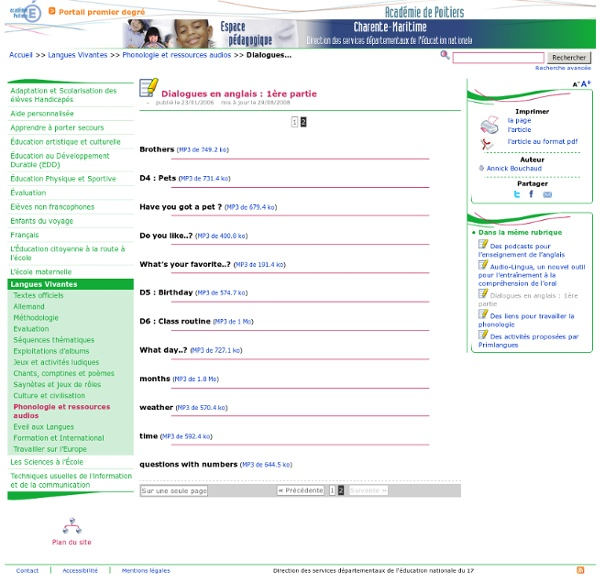 Dialogues en anglais - Page 2/2 - Pédagogie - Direction des services départementaux de l'éducation nationale du 17