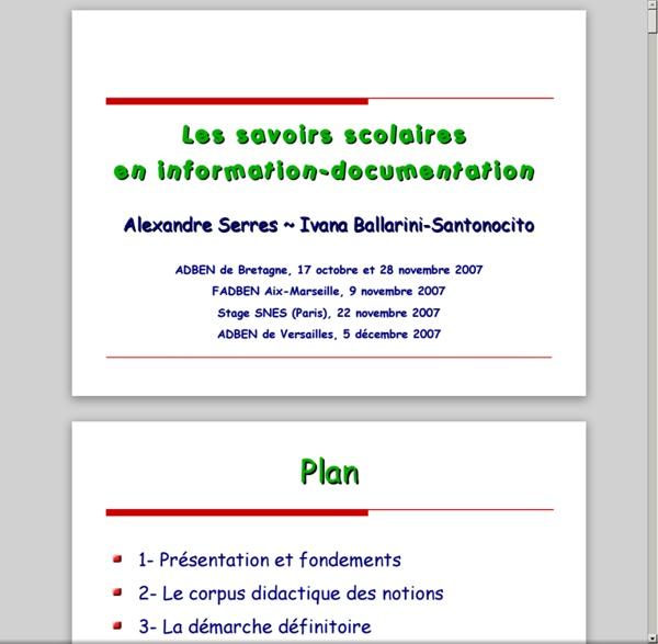 Savoirs scolaires en info doc