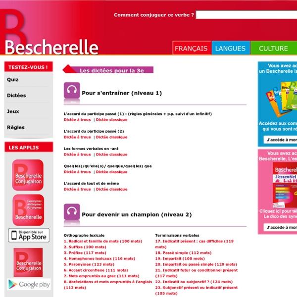 Les dictées en ligne Bescherelle pour le collège - Editions Hatier