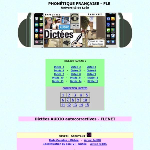 Dictées audio, exercices, activités phonétique FLE, Flenet