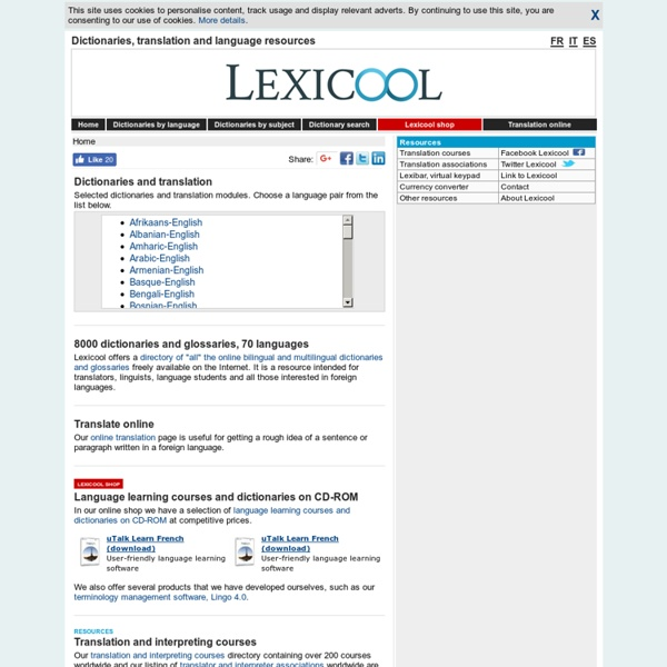 Multilingual translation dictionaries online & language resources - lexicool.com