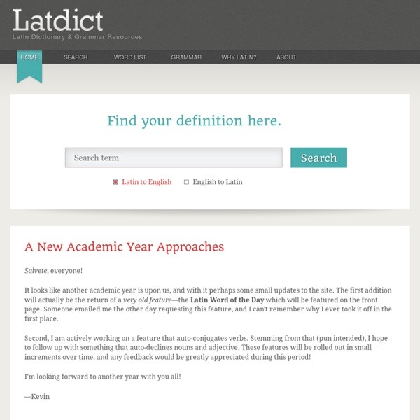 Latin Dictionary and Grammar Resources - Latdict