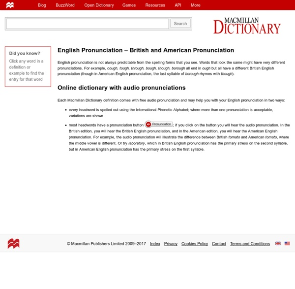 Macmillan Online Dictionary with Free Audio Pronunciation