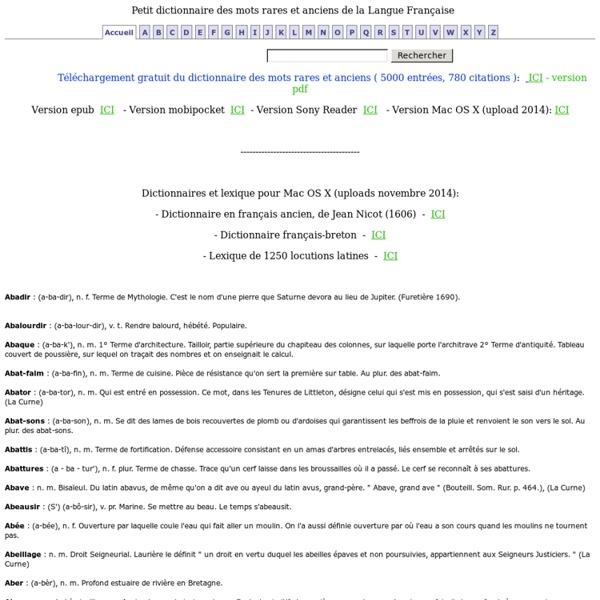 Mots rares: Petit dictionnaire des mots rares et anciens, lettre A