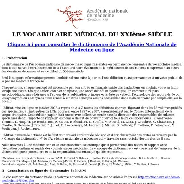 Dictionnaire de l'Académie de Médecine - Bienvenue
