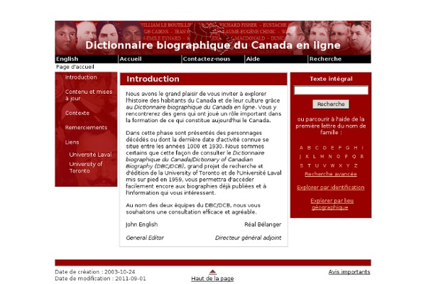 Introduction - Dictionnaire biographique du Canada en ligne