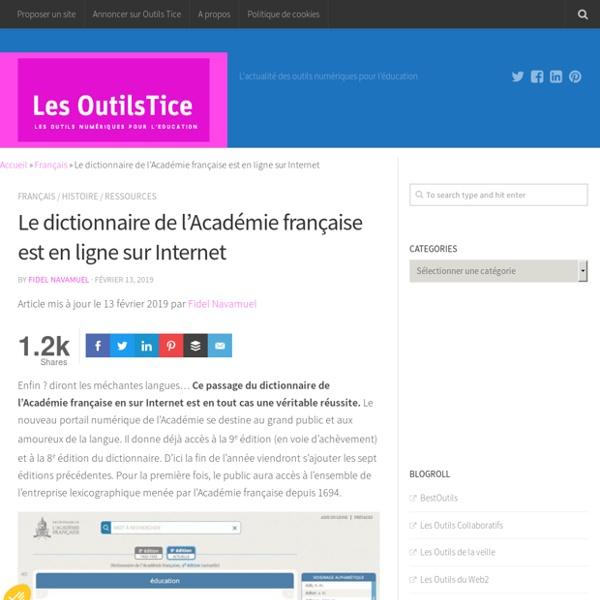 Le dictionnaire de l'Académie française est en ligne sur Internet