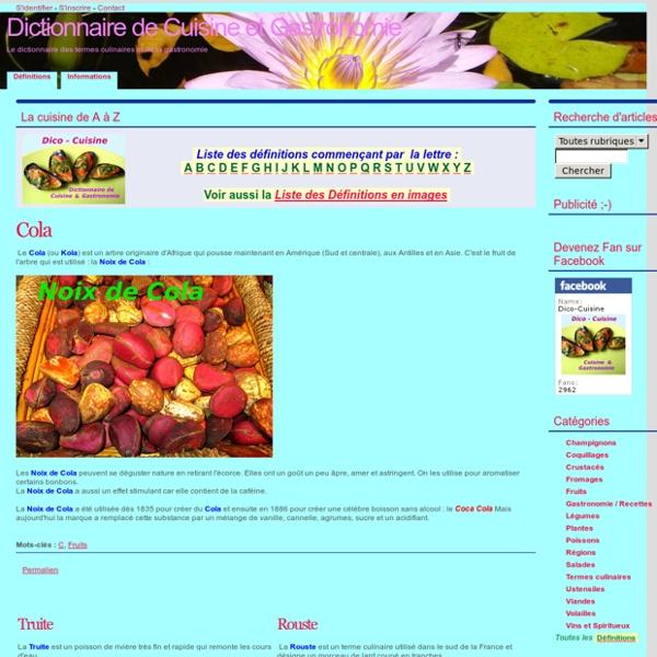 Dictionnaire de Cuisine et Gastronomie
