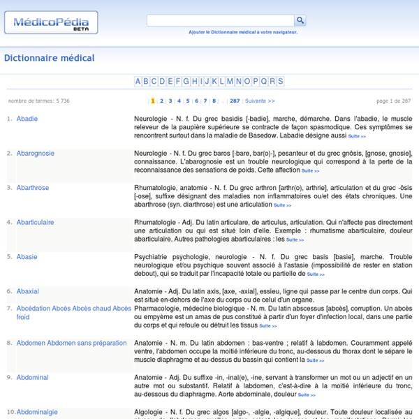 Dictionnaire médical en ligne
