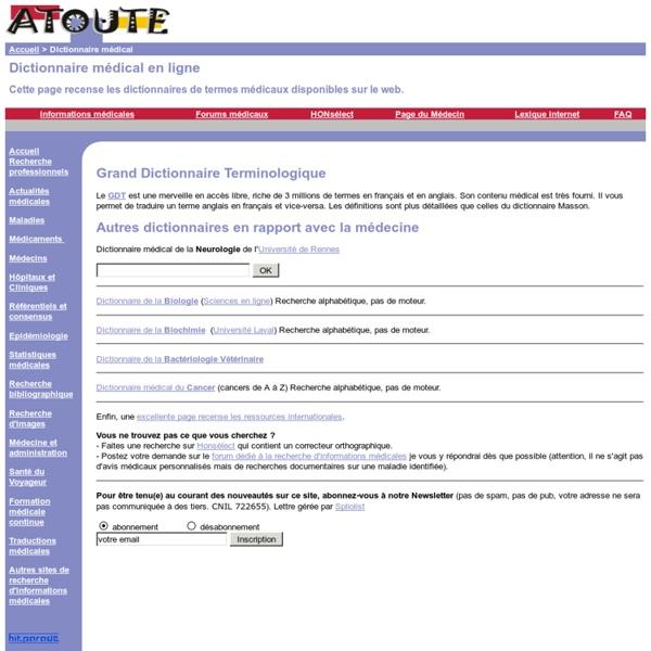 Dictionnaire Medical en ligne