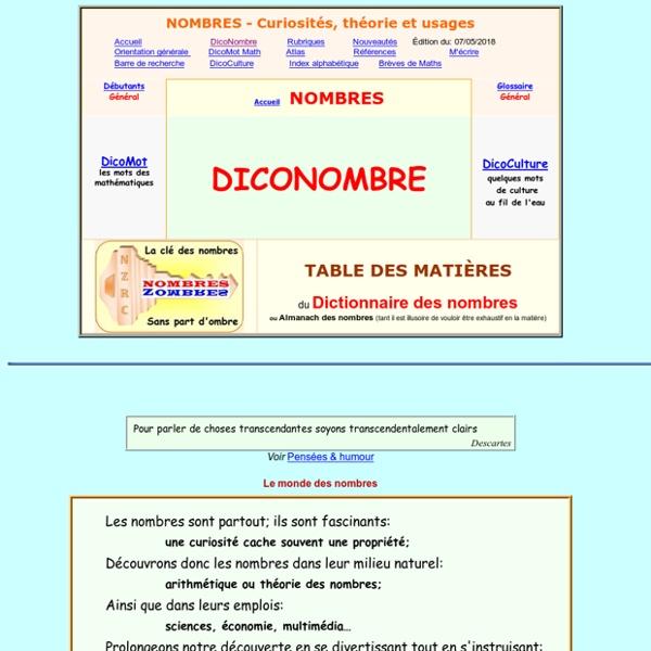 Dictionnaire des nombres - Contenu, pi, premier, parfait, or, magique