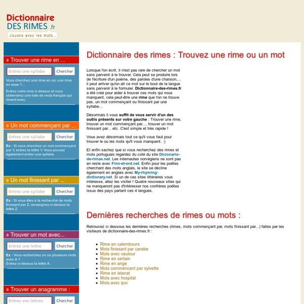 Dictionnaire des rimes - Trouvez la rime qu'il vous faut !