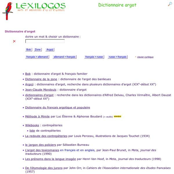 LexiLogos.com Dictionnaire d'argot multilingue