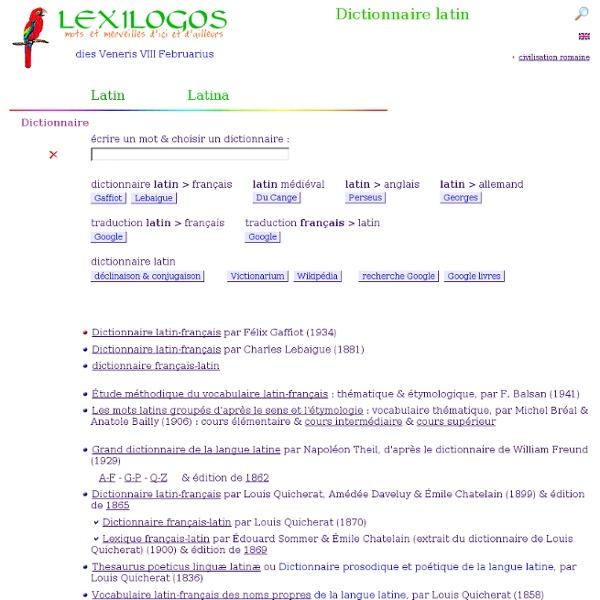 LEXILOGOS Dictionnaire latin français