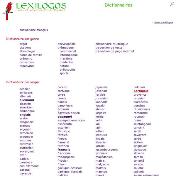 Dictionnaires en ligne dans toutes les langues : index LEXILOGOS