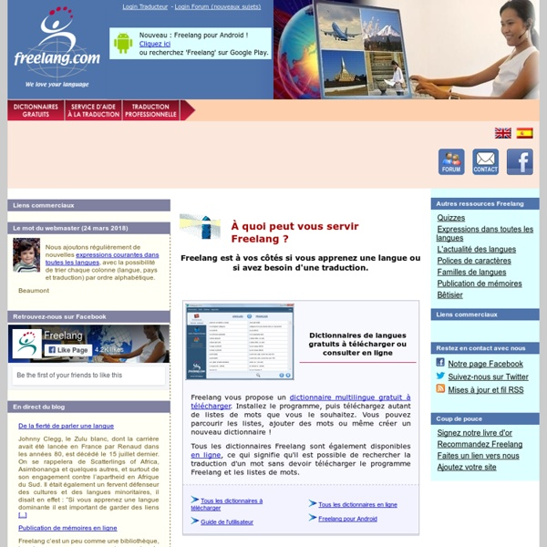 FREELANG - Dictionnaires gratuits à télécharger et Service d'aide à la traduction