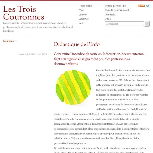 Didactique de l'Info-doc et identité professionnelle du prof-doc