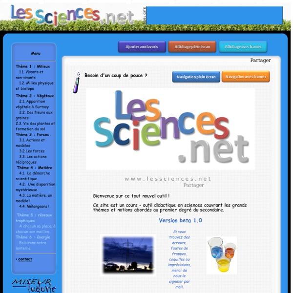 Support didactique et cours de sciences pour le début du secondaire