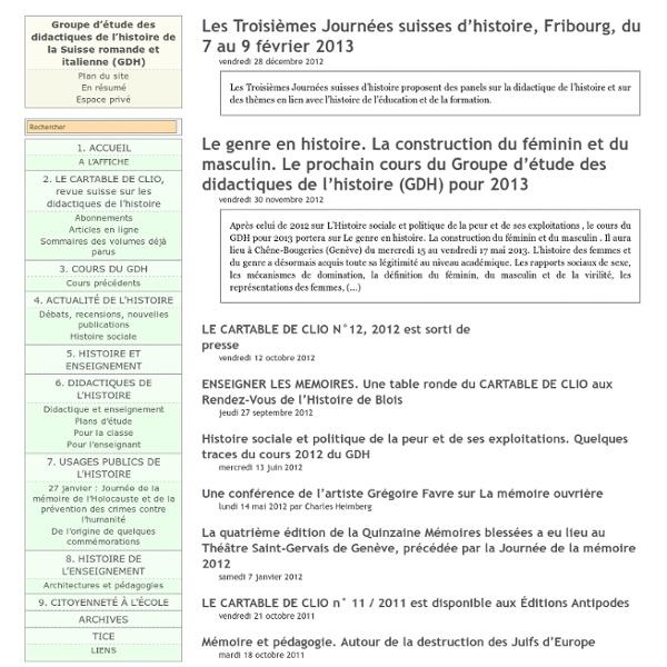 [Groupe d'étude des didactiques de l'histoire de la Suisse romande et italienne (GDH)]