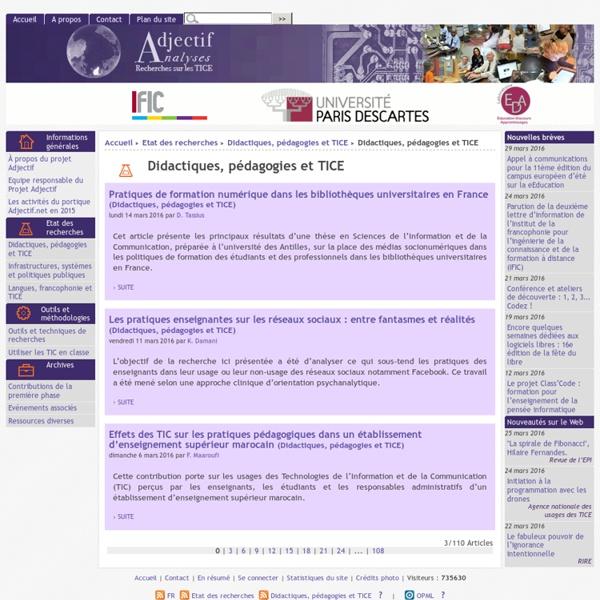 Didactiques, pédagogies et TICE
