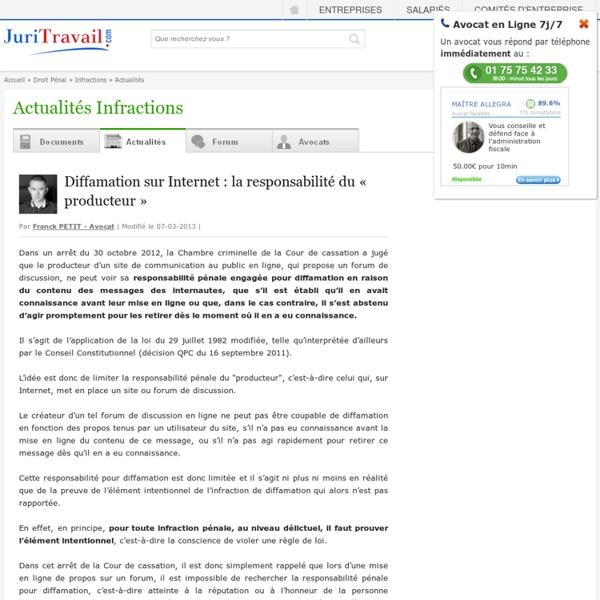 Diffamation sur Internet : la responsabilité du « producteur » - Juritravail