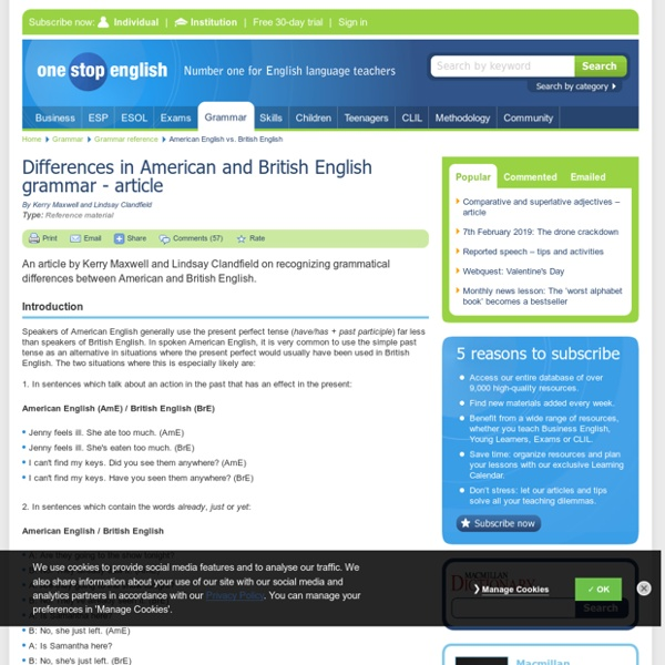Differences in American and British English grammar - article