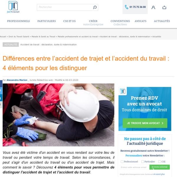 Différences entre l'accident de trajet et l'accident du travail : 4 éléments pour les distinguer