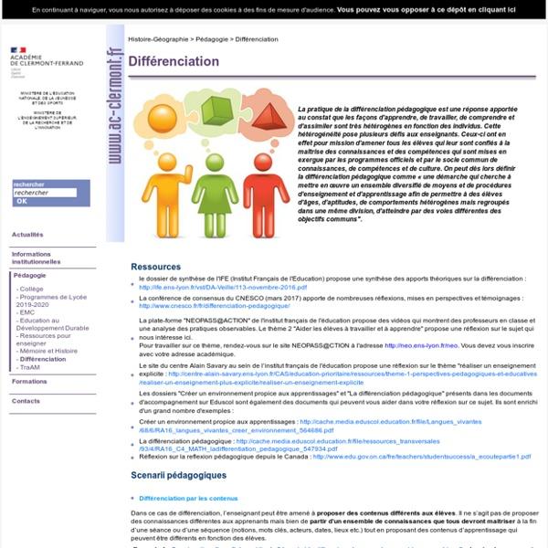 Bilan sur la différenciation sur le site de l'académie de Clermont-Ferrand