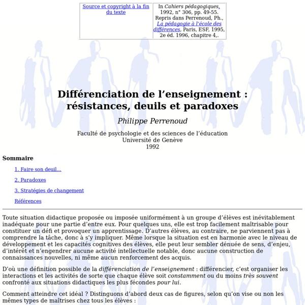 Différenciation de l'enseignement : résistances, deuils et paradoxes