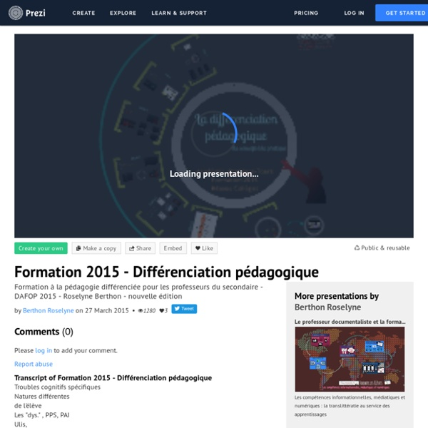 Formation 2015 - Différenciation pédagogique by Berthon Roselyne on Prezi