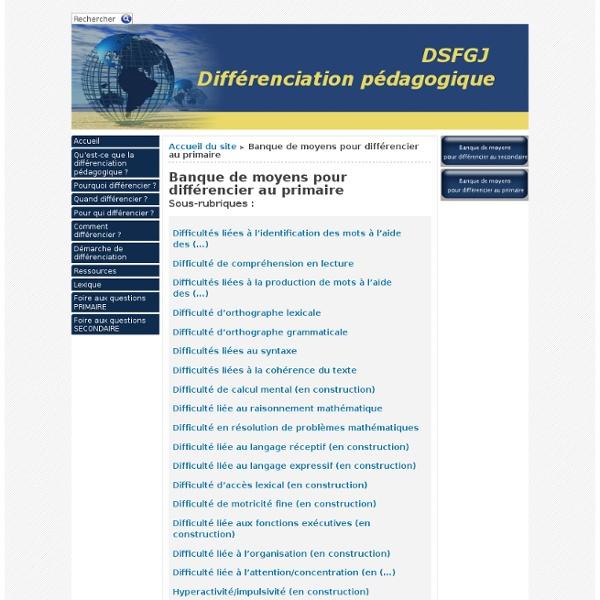 Banque de moyen pour différencier (adaptations, modifications)