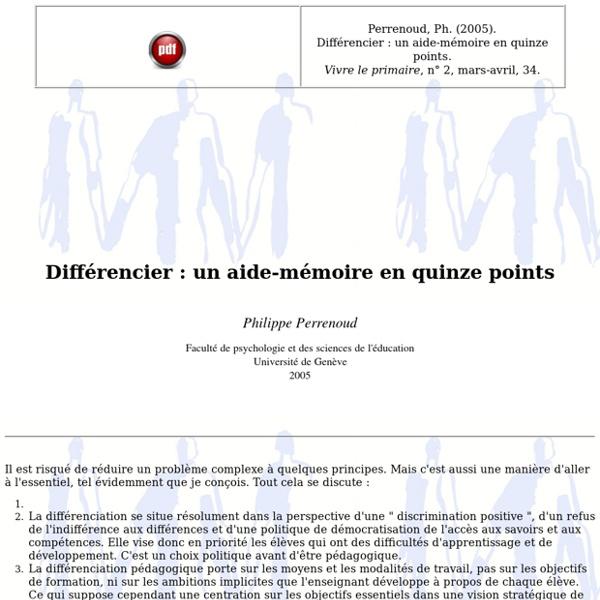 Différencier: un aide-mémoire en quinze points