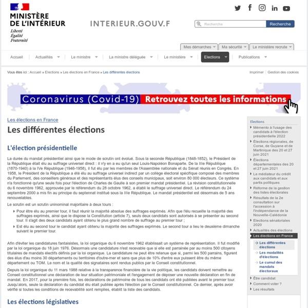 Les différentes élections / Les élections en France