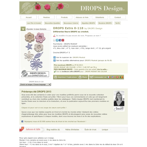 Différentes fleurs DROPS au crochet