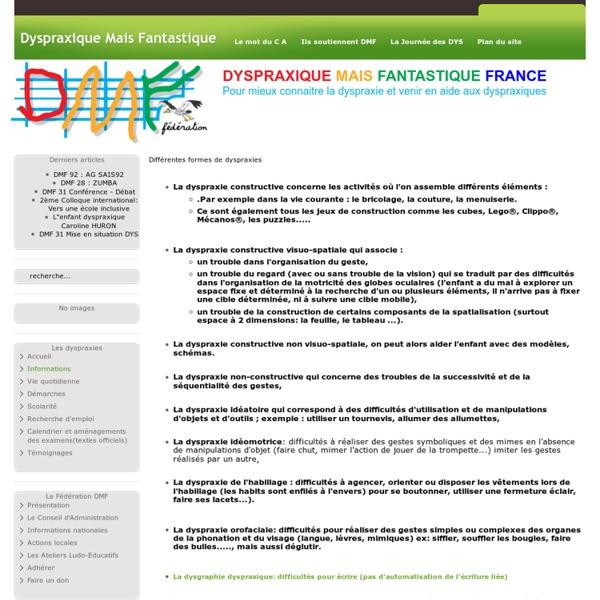Différentes formes de dyspraxies