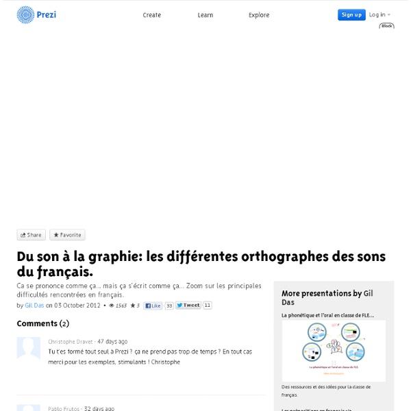 Du son à la graphie: les différentes orthographes des sons du français. by Gildas Gressant on Prezi