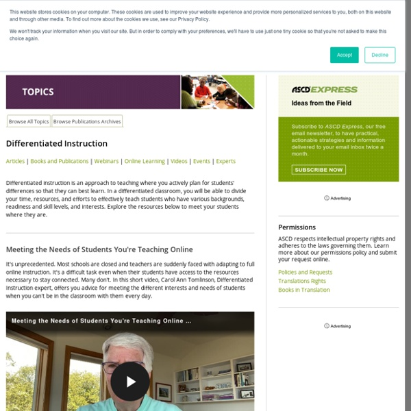 Differentiated Instruction - Videos, Articles, Resources, Experts