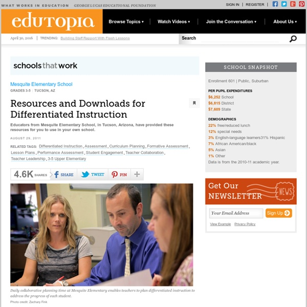 Resources and Downloads for Differentiated Instruction