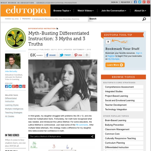 Myth-Busting Differentiated Instruction: 3 Myths and 3 Truths