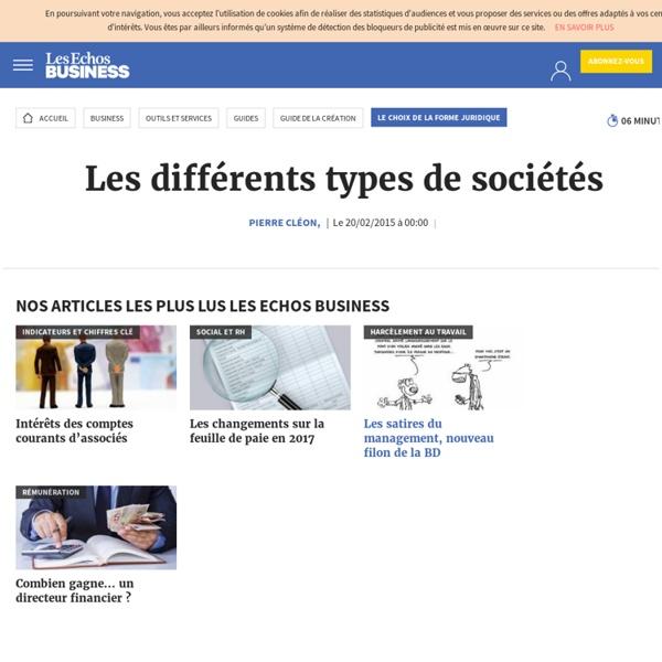 Les différents types de sociétés, Le choix de la forme juridique
