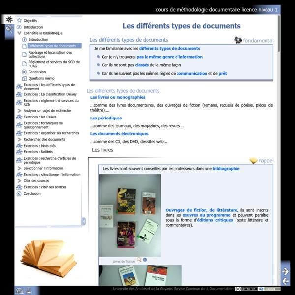 Différents types de documents