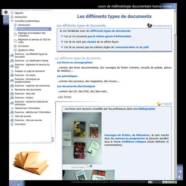 Différents types de documents