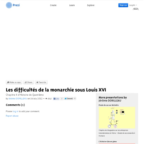 Les difficultés de la monarchie sous Louis XVI by Jérôme DORILLEAU on Prezi