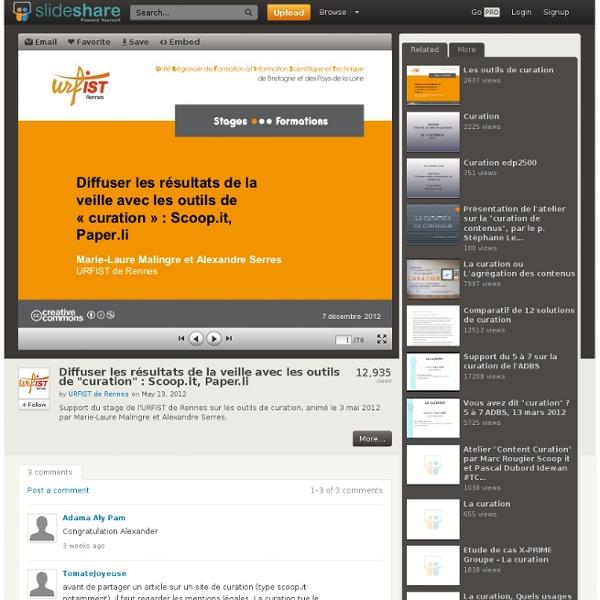 """Diffuser les résultats de la veille avec les outils de """"curation"""" :..."""