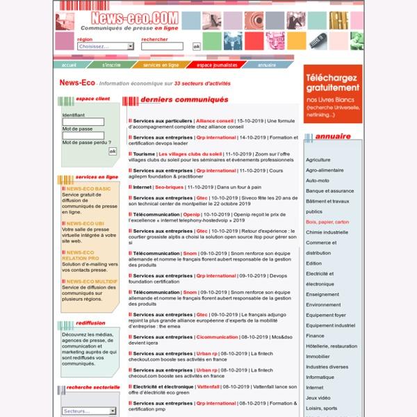 Diffusion de communiqué de presse, RP en ligne - News-Eco.com - CyberCité