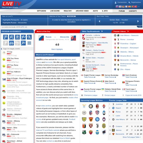 Diffusioni in diretta, live stream, football, hockey su ghiaccio, tennis, basketball