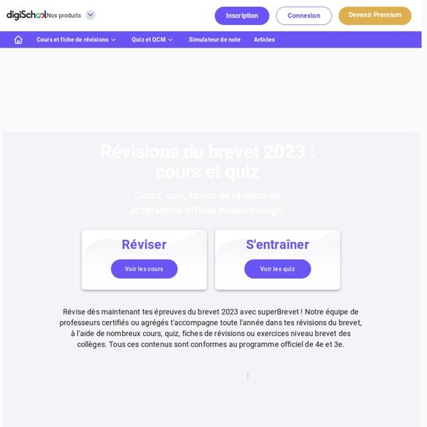 Brevet 2016 sur digiSchool - Révisions, Cours, sujets, Corrigés du DNB 2016