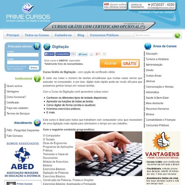 Curso de Digitação - Cursos Online Grátis
