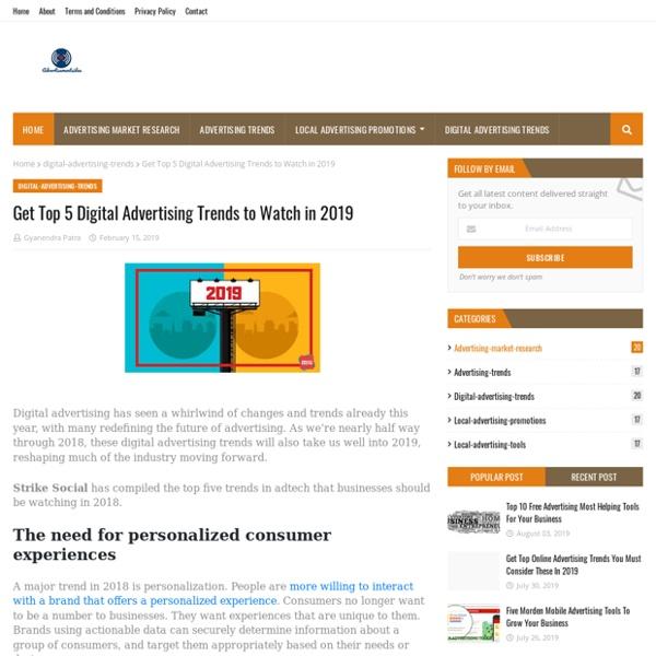 Get Top 5 Digital Advertising Trends to Watch in 2019