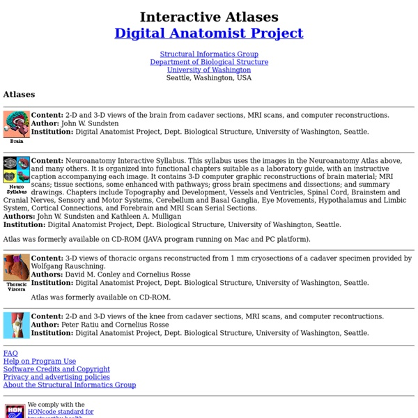 Digital Anatomist Interactive Atlases